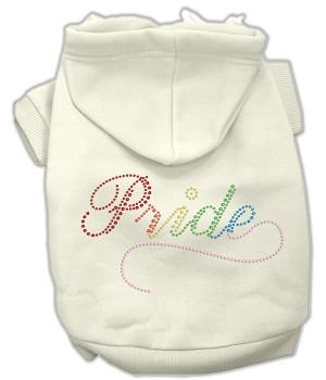Rainbow Colored Pride Rhinestone Hoodie Cream XXL (18)